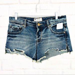 Free People Distressed Destroyed Denim Shorts